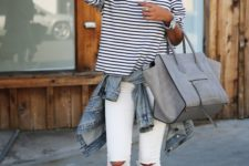 09 white ripped jeans, a striped shirt, blush flats and a grey tote