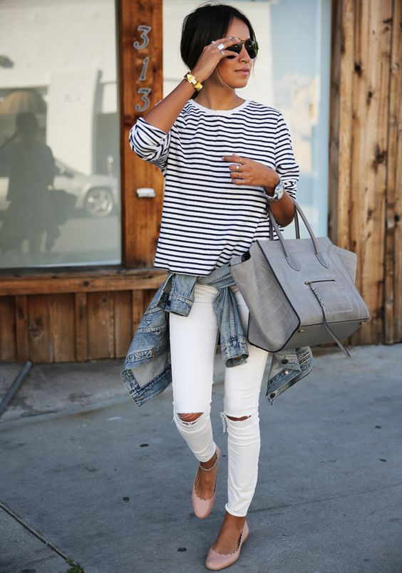 white ripped jeans, a striped shirt, blush flats and a grey tote
