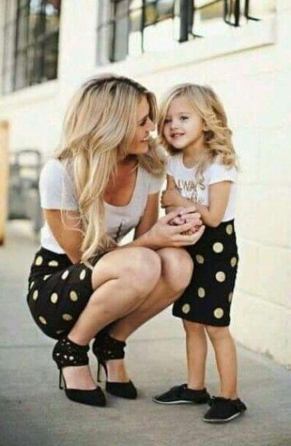 black polka dot skirts, black shoes and flats, printed t-shirts