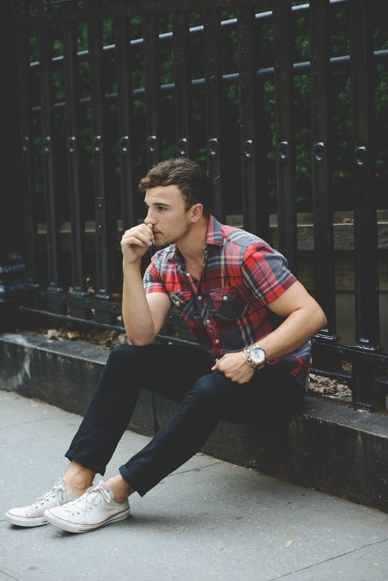navy denim, a checked shirt and white Converse