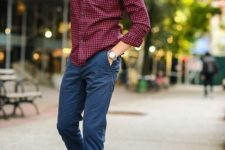 10 navy pants, brown shoes and a red plaid shirt