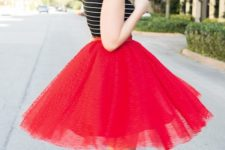10 red tulle skirt, a striped tee and black strap bow heels