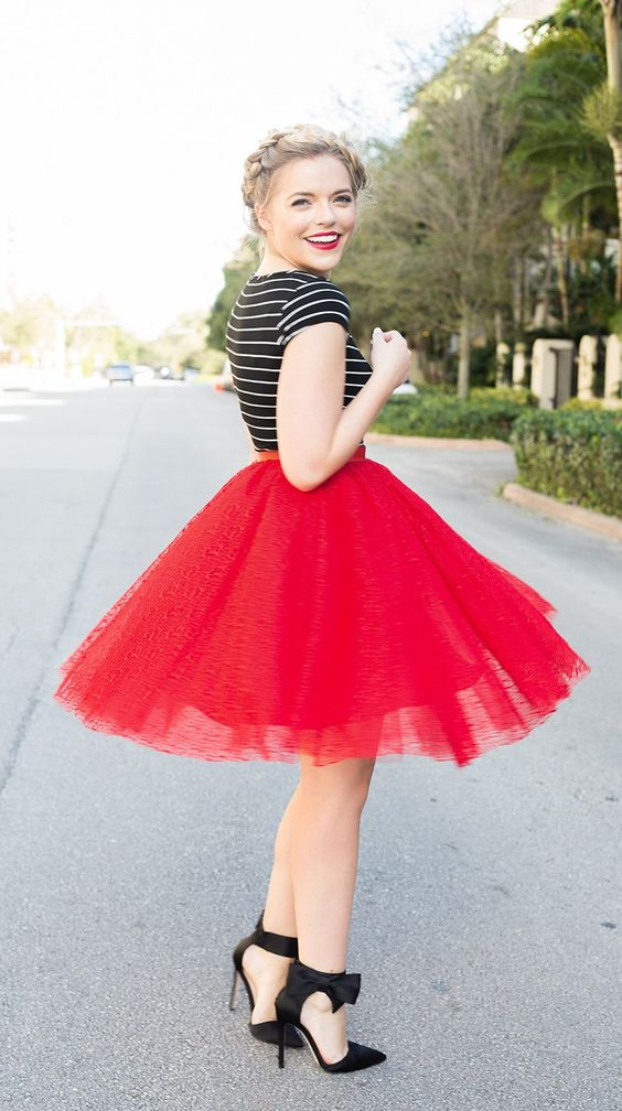red tulle skirt, a striped tee and black strap bow heels