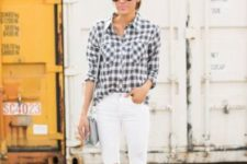 10 white denim, a checked shirt and blush heels