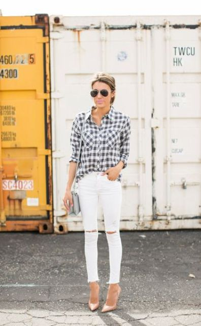 white denim, a checked shirt and blush heels