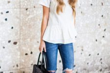10 white flare shirt, ripped blue jeans, silver flats and a black tote