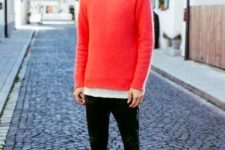 11 a red sweater, a white tee, black jeans and Vans
