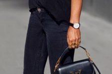 11 black jeans, a black tee and stunning black suede heels