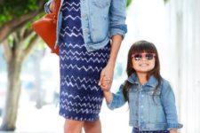 11 blue patterned dresses, denim jackets, neutral boots
