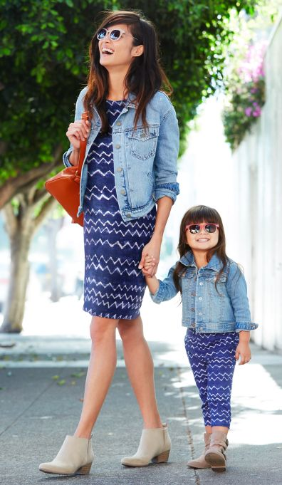 blue patterned dresses, denim jackets, neutral boots