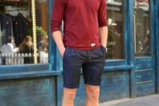 11 navy shorts, an oxblood long-sleeve and oxblood Converse
