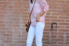11 white denim, white Converse, a striped one shoulder tee