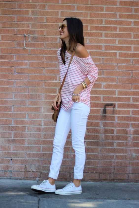 white denim, white Converse, a striped one shoulder tee