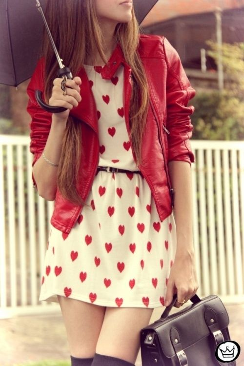 a heart-printed dress and a red leather jacket create a perfect ensemble