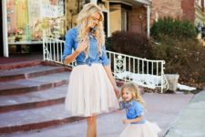 12 blush tutus, chambray shirts, shoes for the mom and flats for the girl