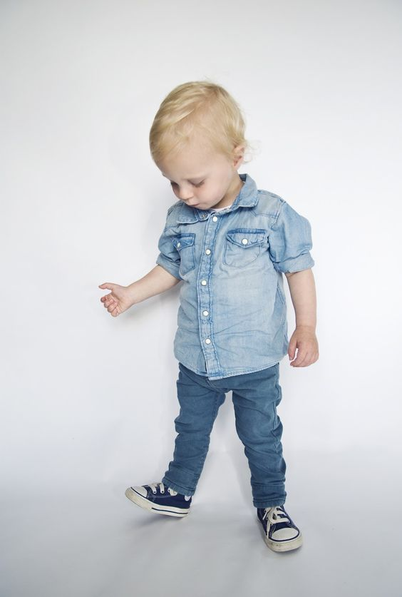 double denim look with navy Converse sneakers