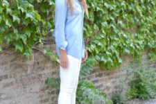 12 white skinnies, a chambray shirt, nude heels