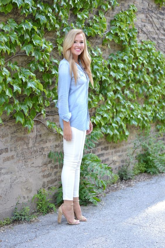 white skinnies, a chambray shirt, nude heels