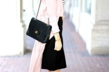 13 a light pink trench coat, a black and white striped top, a black pencil skirt, black heels