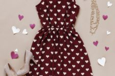 13 burgundy heart-printed dress with neutral suede shoes