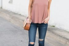 13 dusty pink sleeveless top, ripped skinnies, brown lace up heels