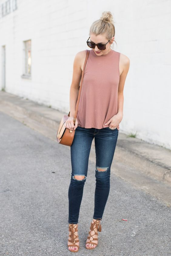 dusty pink sleeveless top, ripped skinnies, brown lace up heels