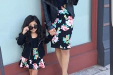 13 floral skirts, black shoes and boots, black tops and leather jackets