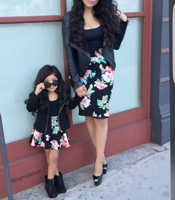 floral skirts, black shoes and boots, black tops and leather jackets