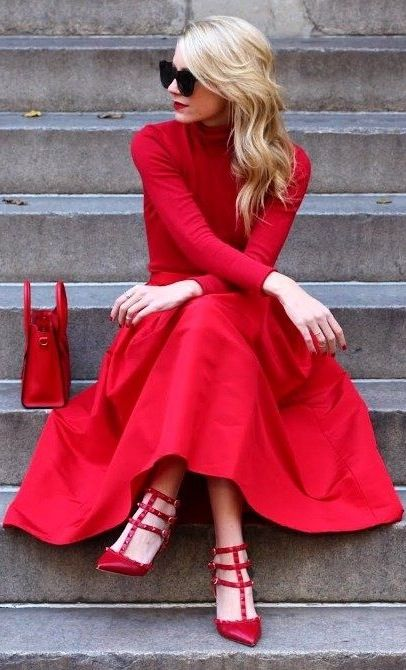 lady in red - a red midi skirt, heels and a sweater