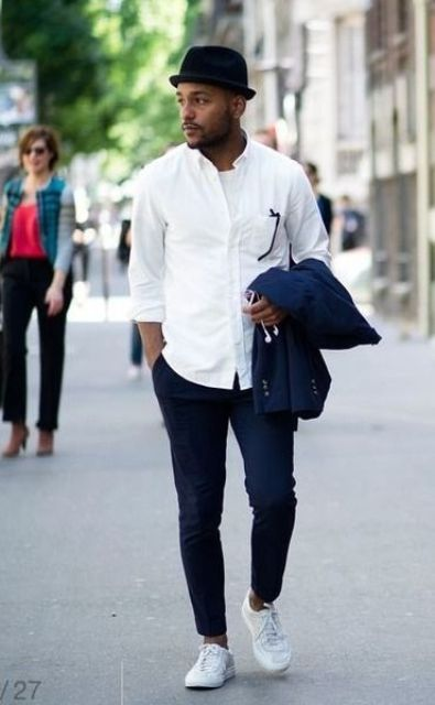 navy pants,a white shirt and white Converse, a navy jacket