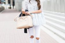 13 white ripped jeans, nude lace up heels and a perforated top