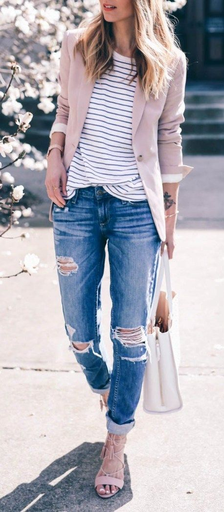 a blush blazer, ripped jeans, a striped tee and blush lace up heels