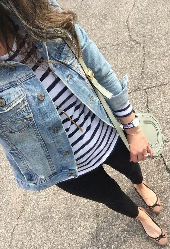 black jeans, a striped t shirt, a denim jacket and neutral flats