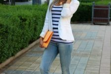 14 blue jeans, a striped tee, a white cardigan and white Converse