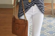 14 white jeans, leopard shoes, a striped t-shirt and a brown tote