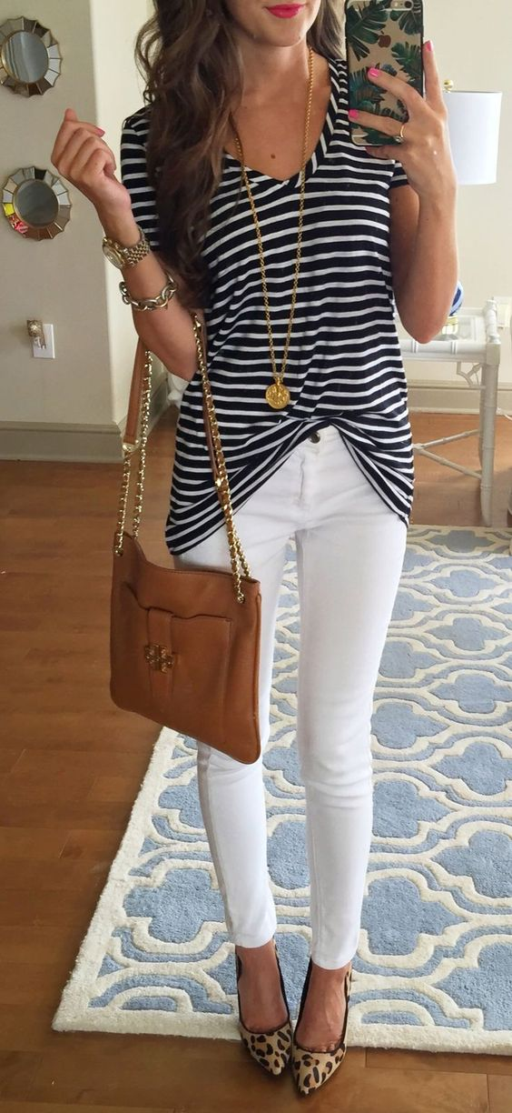 white jeans, leopard shoes, a striped t-shirt and a brown tote