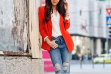 15 a red blazer, a white top, ripped denim and blush lace up heels