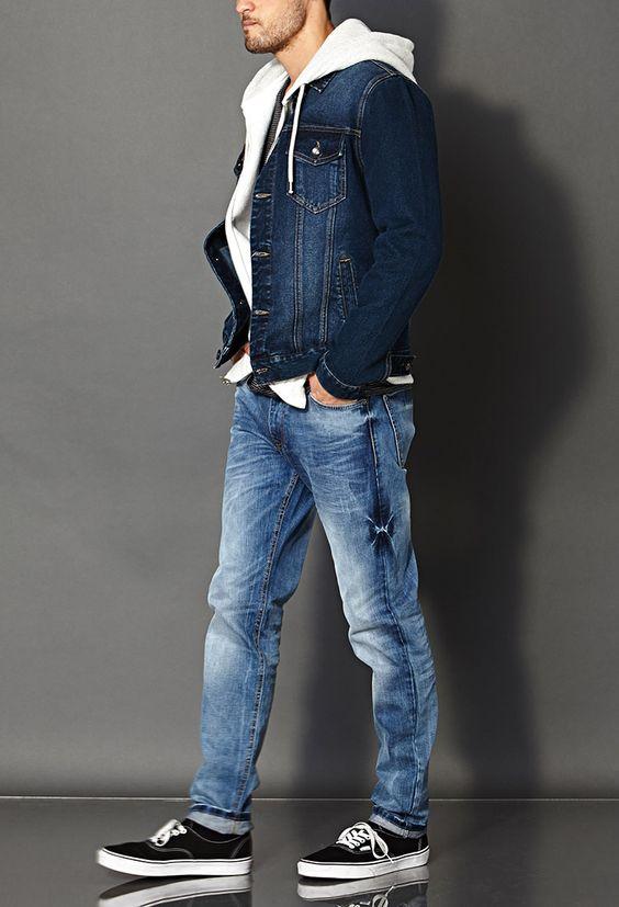 blue jeans, black Vans, a neutral sweatshirt and a denim jacket