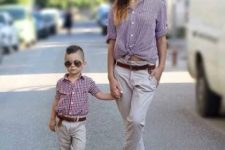 15 grey pants, gingham shirts, loafers for both