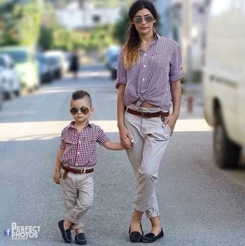 grey pants, gingham shirts, loafers for both