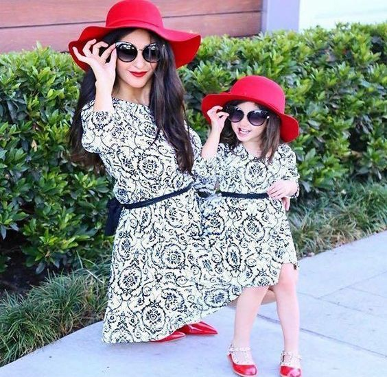 printed dresses, red shoes and hats, sunglasses