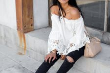 15 ripped black denim, an ivory boho off the shoulder top and white Converse