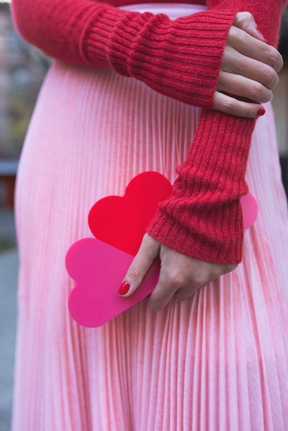 three hearts felt clutch is a whimsy idea