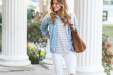 15 white jeans, grey lace up flats, a striped tee and a chambray shirt