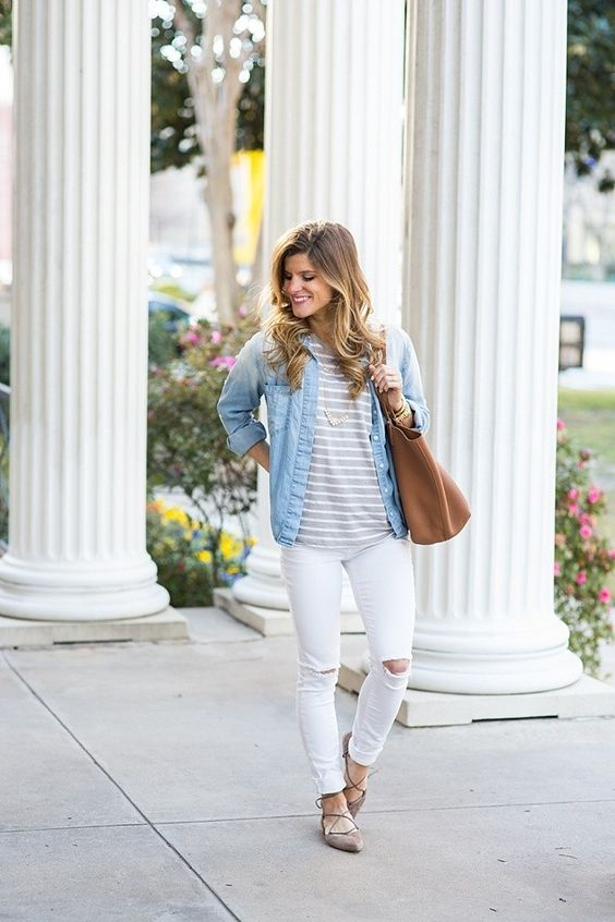 white jeans, grey lace up flats, a striped tee and a chambray shirt