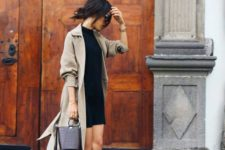 16 a black dress, a beige trenchcoat and navy Converse