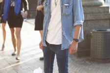 16 cuffed blue jeans, a white tee, a chambray shirt and grey Converse