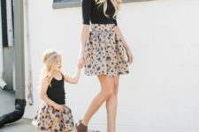 16 printed skirts, black tops, wedges for the mom and flats for the girl