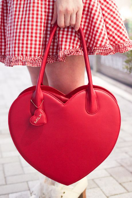 red heart shaped tote