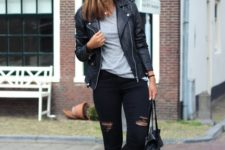 16 ripped black jeans, a grey t-shirt, black Vans and a black leather jacket